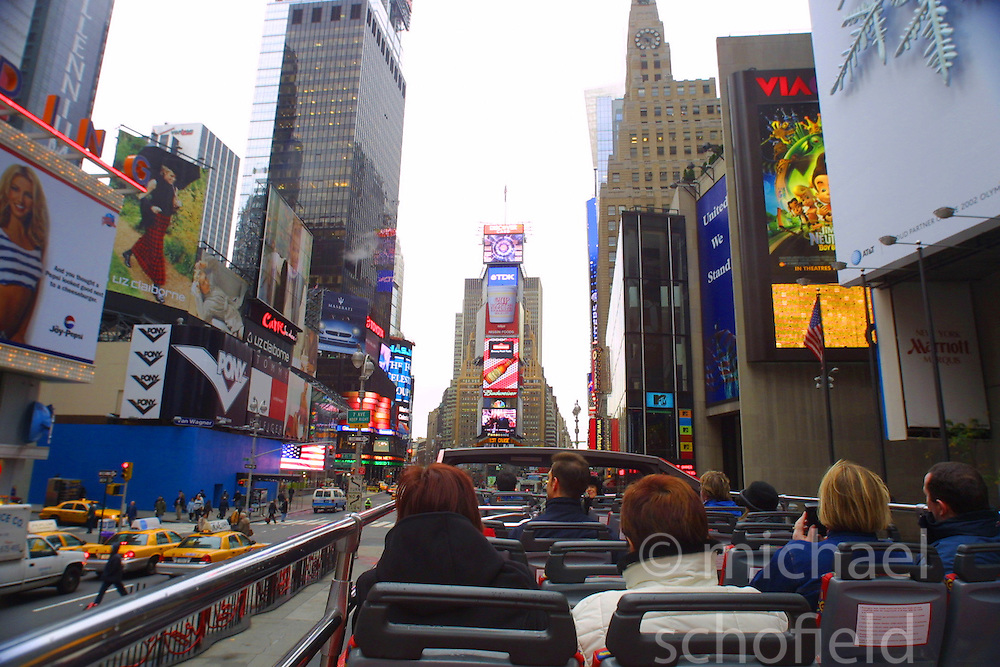 Times Square, New York City, as seen from the top of a tourist bus, in November 2001..Images of the city of New York, United States of America, taken between 20th-22nd November, 2001..©Michael Schofield.