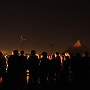 Night time at Climate Camp on day 2.