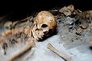 Ercolano, Italia - 23 novembre 2012. Una degli scheletri di antichi romani ritrovati sulla spiaggia degli scavi archeologici di Ercolano (Herculaneum). In tantissimi tentarono la fuga dall'eruzione del Vesuvio via mare. Il sito archologico di epoca romana, patrimonio dell'Unesco, distante solo pochi km da Pompei, ha riportato alla luce tesori antichi di inestimabile valore. A differenza di Pompei, ad Ercolano sono stati ritrovati reperti organici ed in legno che hanno permesso agli archeologi di studiare in modo più approfondito le abitudini dell'epoca. Ph. Roberto Salomone Ag. Controluce.ITALY - One of the scheletons found inside a boathouse on the beach of the archeological site of Herculaneum on November 23, 2012. The world heritage site of roman age, just a few miles away from Pompeii has brought to life treasures that made it possible for archeologists to study in a more detailed way the lifestyle of ancient romans.