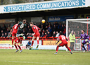 Plymouth forward Ryan Brunt heads the ball at goal during the Sky Bet League 2 match between Crawley Town and Plymouth Argyle at the Checkatrade.com Stadium, Crawley, England on 20 February 2016. Photo by David Charbit.