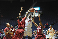 """Mississippi Lady Rebels forward Danielle McCray (22) shoots against Alabama Crimson Tide forward Quanetria Bolton (1) and Alabama Crimson Tide guard Breanna Hayden (5) at the C.M. """"Tad"""" Smith Coliseum in Oxford, Miss. on Sunday, January 11, 2015. (AP Photo/Oxford Eagle, Bruce Newman)"""