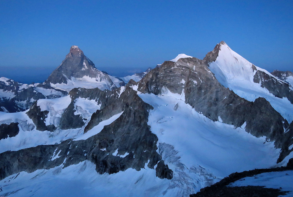 The summit of Matterhorn seen from the approach to the Kanzelgrat ridge on Zinal rothorn, 4221m, Valais, Switzerland.