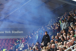 Scunthorpe United fans set off a flare - Mandatory by-line: Ryan Crockett/JMP - 14/10/2017 - FOOTBALL - Aesseal New York Stadium - Rotherham, England - Rotherham United v Scunthorpe United - Sky Bet League One