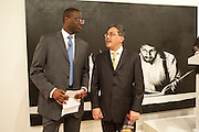 Tidjane Thiam ; Yuri O Thamrin; Indonesian Ambassador, Indonesian Eye Contemporary Art Exhibition Reception, Saatchi Gallery. London. 9 September 2011. <br /> <br />  , -DO NOT ARCHIVE-© Copyright Photograph by Dafydd Jones. 248 Clapham Rd. London SW9 0PZ. Tel 0207 820 0771. www.dafjones.com.