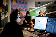 3-9-2018 HILVERSUM - Princess Laurentien is the one-time co-presenter of the morning show Your day is good from Jeroen van Inkel on NPO Radio 5. In the program she gives the starting shot for the Week of Literacy. copyright robin utrecht