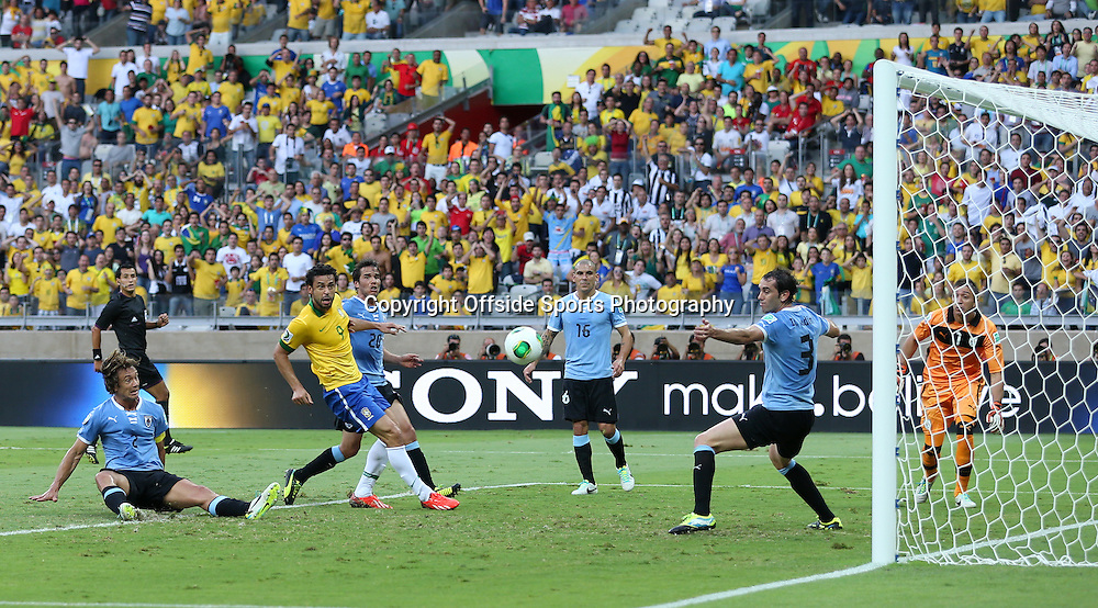 26th June 2013 - FIFA Confederations Cup 2013 (Semi-Final) - Brazil v Uruguay - Fred of Brazil scores their 1st goal - Photo: Simon Stacpoole / Offside.