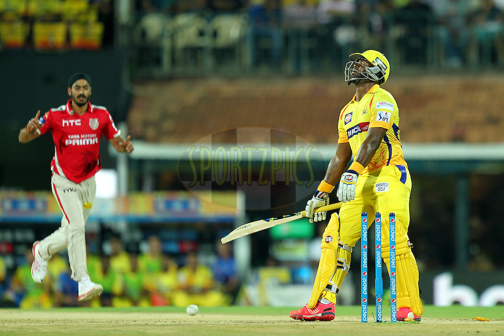 Dwayne Smith of Chennai Super Kings reacts after he was bowled  by anureet Singh of KXIP during match 24 of the Pepsi IPL 2015 (Indian Premier League) between The Chennai Superkings and The Kings XI Punjab held at the M. A. Chidambaram Stadium, Chennai Stadium in Chennai, India on the 25th April 2015.Photo by:  Prashant Bhoot / SPORTZPICS / IPL