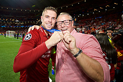 MADRID, SPAIN - SATURDAY, JUNE 1, 2019: Liverpool's captain Jordan Henderson with family after the UEFA Champions League Final match between Tottenham Hotspur FC and Liverpool FC at the Estadio Metropolitano. Liverpool won 2-0 to win their sixth European Cup. (Pic by David Rawcliffe/Propaganda)
