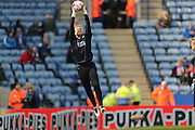 Leicester City goalkeeper Kasper Schmeichel (1)  during the Barclays Premier League match between Leicester City and Southampton at the King Power Stadium, Leicester, England on 3 April 2016. Photo by Simon Davies.