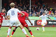 Luton Town Forward Jack Marriott shoots at goal during the EFL Sky Bet League 2 match between Crawley Town and Luton Town at the Checkatrade.com Stadium, Crawley, England on 17 September 2016. Photo by Phil Duncan.