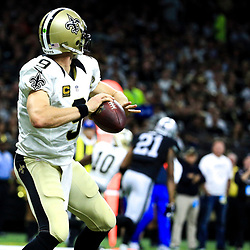 Sep 11, 2016; New Orleans, LA, USA;  New Orleans Saints quarterback Drew Brees (9) throws a 98 yard touchdown to wide receiver Brandin Cooks (10) during the third quarter of a game at the Mercedes-Benz Superdome. The Raiders defeated the Saints 35-34. Mandatory Credit: Derick E. Hingle-USA TODAY Sports
