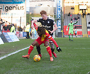 17th February 2018, Firhill Stadium, Glasgow, Scotland; Scottish Premier League Football, Partick Thistle versus Dundee; Simon Murray of Dundee battles for the ball with Mustapha Dumbuya of Partick Thistle