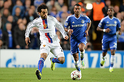 18.09.2013, Stamford Bridge, London, ENG, UEFA Champions League, FC Chelsea vs FC Basel, Gruppe E, im Bild Basel's Mohamed Salah  runs with the ball during UEFA Champions League group E match between FC Chelsea and FC Basel at the Stamford Bridge, London, United Kingdom on 2013/09/18. EXPA Pictures © 2013, PhotoCredit: EXPA/ Mitchell Gunn <br /> <br /> ***** ATTENTION - OUT OF GBR *****