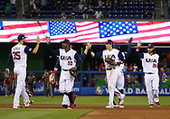 March 12, 2017 - Miami, FL, USA - United States players celebrate after defeating Canada 8-0 in a World Baseball Classic first round Pool C game on Sunday, March 12, 2017 at Marlins Park in Miami, Fla. (Credit Image: © David Santiago/TNS via ZUMA Wire)