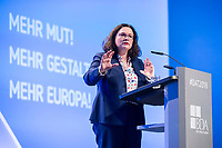 23 NOV 2018, BERLIN/GERMANY:<br /> Andrea Nahles, MdB, SPD Parteivorsitzende, haelt eine Rede, Deutscher Arbeitgebertag 2018, Vereinigung Deutscher Arbeitgeber, BDA, Estrell Convention Center<br /> IMAGE: 20181123-01-483