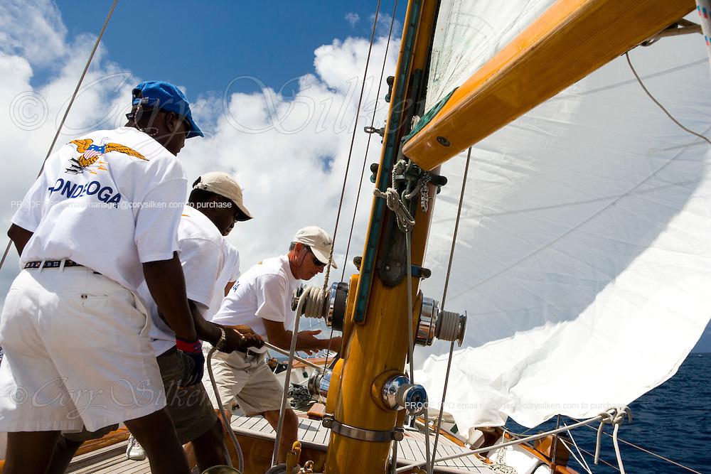 Ticonderoga sailing the Cannon Race at the Antigua Classic Yacht Regatta.