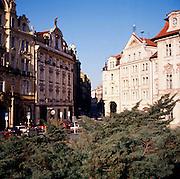 Historic buildings Central Prague square, Czech republic