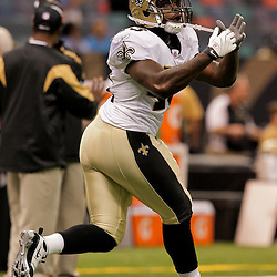 2009 August 14: New Orleans Saints running back P.J. Hill (43)  in warm ups prior to the start of a preseason opener between the Cincinnati Bengals and the New Orleans Saints at the Louisiana Superdome in New Orleans, Louisiana.