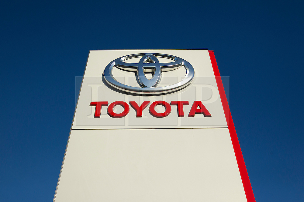 © Licensed to London News Pictures. 14/11/2012. London, UK. The Toyota logo is seen on a sign outside a dealership in London today (14/11/12) after the car manufacturer issued its second recall notice in two months that may affect up to 2.8 Million cars. Photo credit: Matt Cetti-Roberts/LNP