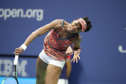 September 5, 2017 - New York City, New York, United States - Venus Williams of USA competes against Petra Kvitova of Czech Republic (not seen) in Women's Singles Quarterfinal tennis match within the 2017 US Open Tennis Championships at Arthur Ashe Stadium in New York, United States on September 5, 2017. (Credit Image: © Foto Olimpik/NurPhoto via ZUMA Press)