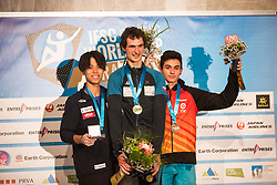 ONDRA Adam, HARADA Kai, GINES LOPEZ Alberto celebrating podium ceremony after Finals IFSC World Cup Competition in sport climbing Kranj 2019, on September 29, 2019 in Arena Zlato polje, Kranj, Slovenia. Photo by Peter Podobnik / Sportida