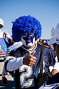 IRVING, TX - JANUARY 13:   Fan of the Dallas Cowboys with his face painted before a game against the New York Giants during the NFC Divisional playoff at Texas Stadium on January 13, 2008 in Dallas, Texas.  The Giants defeated the Cowboys 21-17.  (Photo by Wesley Hitt/Getty Images) *** Local Caption ***