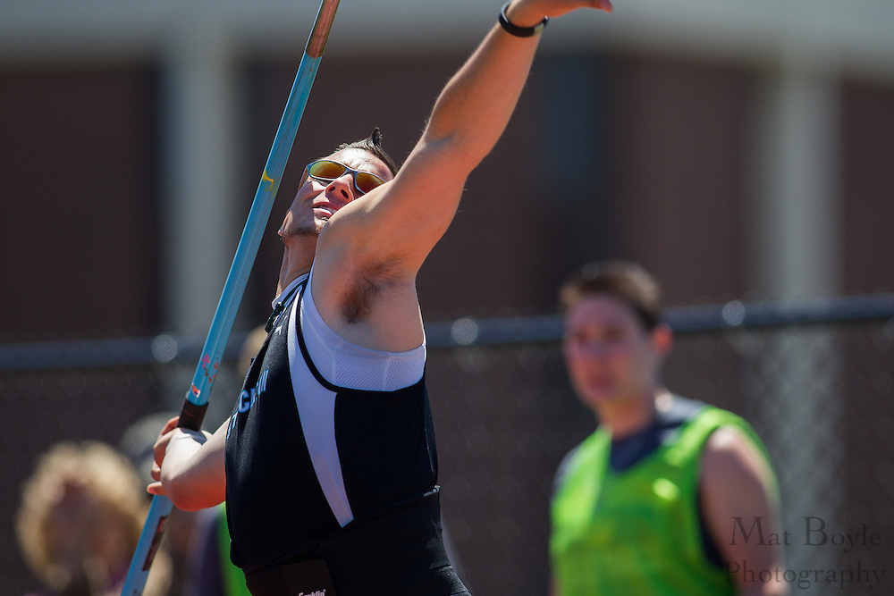 Richard Stockton College's Nick Ivone competes in the men's javelin  at the NJAC Track and Field Championships at Richard Wacker Stadium on the campus of  Rowan University  in Glassboro, NJ on Sunday May 5, 2013. (photo / Mat Boyle)