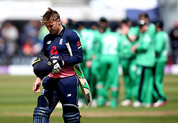 Jason Roy of England looks dejected after being dismissed for 0 - Mandatory by-line: Robbie Stephenson/JMP - 05/05/2017 - CRICKET - Brightside County Ground - Bristol, United Kingdom - England v Ireland - Royal London One Day Cup