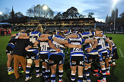 The Bath team huddle together after the match - Photo mandatory by-line: Patrick Khachfe/JMP - Mobile: 07966 386802 01/11/2014 - SPORT - RUGBY UNION - Bath - The Recreation Ground - Bath Rugby v London Welsh - LV= Cup