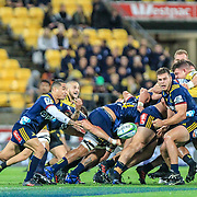 Aaron Smith passes he ball during the super rugby union  game between Hurricanes  and Highlanders, played at Westpac Stadium, Wellington, New Zealand on 24 March 2018.  Hurricanes won 29-12.