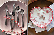 Valentine themed ceramic plate, flatware and dish