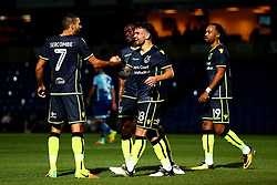 Dominic Telford of Bristol Rovers celebrates with Liam Sercombe of Bristol Rovers after scoring a goal to make it 2-1 - Mandatory by-line: Robbie Stephenson/JMP - 29/08/2017 - FOOTBALL - Adam's Park - High Wycombe, England - Wycombe Wanderers v Bristol Rovers - Checkatrade Trophy