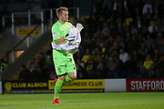 Burton Albion goalkeeper Harry Campbell (20) comes on as substitute during the second round or the Carabao EFL Cup match between Burton Albion and Aston Villa at the Pirelli Stadium, Burton upon Trent, England on 28 August 2018.