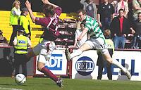 Hearts v Celtic, Scottish Premier League, Tynecastle Park, Edinburgh. Pic Shaun Dempsey, 15/05/2005<br /> Craig Beattie shoots past Andy Webster for Celtic's winning goal
