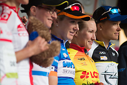 Hayley Simmonds (GBR) of Team WNT takes over the yellow jersey after Stage 3 of the Lotto Thuringen Ladies Tour - a 124 km road race, starting and finishing in Weimar on July 15, 2017, in Thuringen, Germany. (Photo by Balint Hamvas/Velofocus.com)