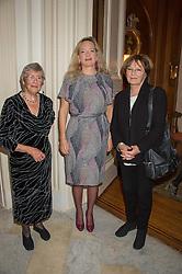 Left to right, ANNA DEL CONTE, KAREN TERRACCIANO wife of the Italian Ambassador and DELIA SMITH at a reception in honour of Anna del Conte held at The Italian Emabssy, Grosvenor Square, London on 9th November 2015.