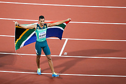 London, August 10 2017 . Wayde van Niekerk, South Africa, celebrates his silver medal in the men's 200m final on day seven of the IAAF London 2017 world Championships at the London Stadium. © Paul Davey.