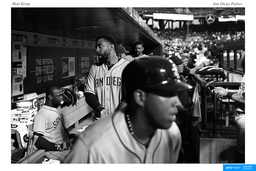 Justin Upton, (left), Matt Kemp, San Diego Padres, preparing to bat as Yangervis Solarte heads out of the dugout to bat during the New York Mets Vs San Diego Padres MLB regular season baseball game at Citi Field, Queens, New York. USA. 29th July 2015. Photo Tim Clayton