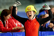 Graz, Austria - 2017 March 24: Xinzhuo Song from from SO China (42) celebrates her victory in Speed Skating 333 meters race while Special Olympics World Winter Games Austria 2017 at Icestadium Graz Liebenau on March 24, 2017 in Graz, Austria.<br /> <br /> Mandatory credit:<br /> Photo by &copy; Adam Nurkiewicz / Mediasport<br /> <br /> Adam Nurkiewicz declares that he has no rights to the image of people at the photographs of his authorship.<br /> <br /> Picture also available in RAW (NEF) or TIFF format on special request.<br /> <br /> Any editorial, commercial or promotional use requires written permission from the author of image.<br /> <br /> Image can be used in the press when the method of use and the signature does not hurt people on the picture.