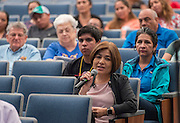 An audience member comments during a stop of Superintendent Richard Carranza's Listen & Learn Tour of the district at Chavez High School, September 15, 2016.