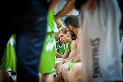 Jaka Blazic of Slovenia during friendly basketball match between National teams of Slovenia and Ukraineat day 1 of Adecco Cup 2015, on August 21 in Koper, Slovenia. Photo by Grega Valancic / Sportida