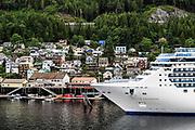 Cruise ship Island Princess docked at Ketchikan, Alaska, USA