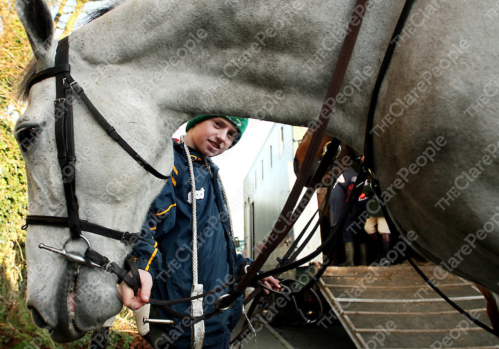 Enda Nugent with Harry at the East Clare Hunt in Clonlara on Sunday.<br /> Photograph by Yvonne Vaughan