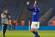 Christian Fuchs (28) acknowledges the fans at the end of the Premier League match between Leicester City and Watford at the King Power Stadium, Leicester, England on 4 December 2019.
