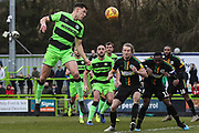 Forest Green Rovers Paul Digby(20) heads the ball during the EFL Sky Bet League 2 match between Forest Green Rovers and Yeovil Town at the New Lawn, Forest Green, United Kingdom on 16 February 2019.