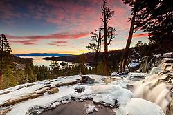 """Eagle Falls At Emerald Bay 10"" - Sunrise photograph at an icy Eagle Falls above Emerald Bay, Lake Tahoe."