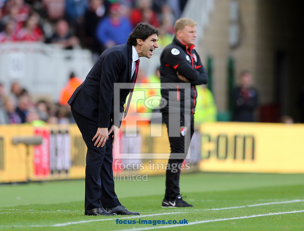Middlesbrough head coach Aitor Karanka (l) and Bournemouth manager Eddie Howe during the Premier League match at the Riverside Stadium, Middlesbrough<br /> Picture by Simon Moore/Focus Images Ltd 07807 671782<br /> 29/10/2016