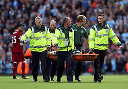Manchester City goalkeeper Ederson is stretchered off during the Premier League match at the Etihad Stadium, Manchester.