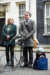© Licensed to London News Pictures. 23/01/2020. LONDON, UK.  Richard Ratcliffe, the husband of British-Iranian mother Nazanin Zaghari-Ratcliffe, speaks to the media outside number 10 Downing Street accompanied by his mother Barbara and daughter Gabriella after having talks with Boris Johnson, Prime Minister.  Mr Ratcliffe wants the Prime Minister to take a personal interest in seeking a release of his wife who was imprisoned in 2016 for five years in Iran on controversial spying charges.  Mr Johnson, when he was Foreign Secretary, was accused of increasing her sentence by saying that she was training journalists in Iran at the time of her arrest.  Photo credit: Stephen Chung/LNP