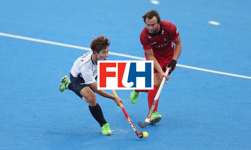 LONDON, ENGLAND - JUNE 17: Taeil Hwang of Korea and Alexandre de Paeuw of Belgium during the FIH Mens Hero Hockey Champions Trophy 5th-6th place match between Beligium and Korea at Queen Elizabeth Olympic Park on June 17, 2016 in London, England.  (Photo by Alex Morton/Getty Images)